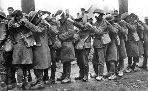 British soldiers blinded by tear gas in April 1918