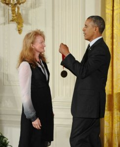 Krista Tippett receiving her National Humanities Medal from Pres. Barack Obama