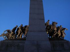 Side view of the base of the National War Memorial in Ottawa