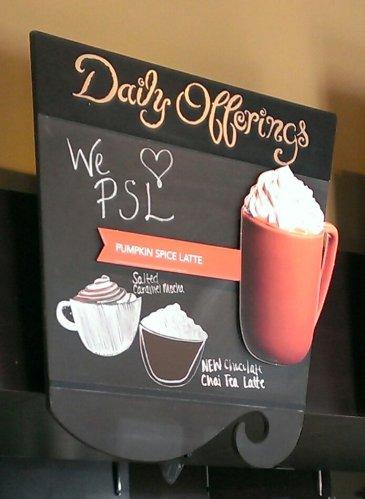 Pumpkin Spice Latte sign
