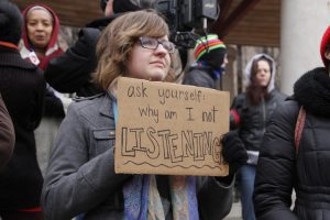 """ask yourself: why am I not LISTENING?"" (photo from #Ferguson protest in St. Louis)"