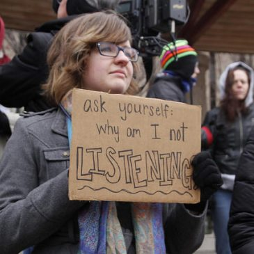 """""""ask yourself: why am I not LISTENING?"""" (photo from #Ferguson protest in St. Louis)"""
