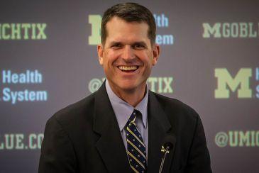 New U. Michigan football coach Jim Harbaugh