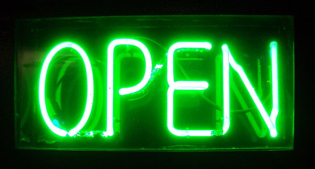 Neon open for business sign