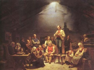 1852 painting of a Haugean conventicle