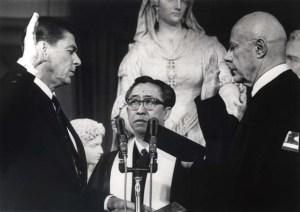 Ronald Reagan being sworn in as California governor in 1967