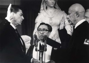 Ronald Reagan being sworn in as California governor in 1967