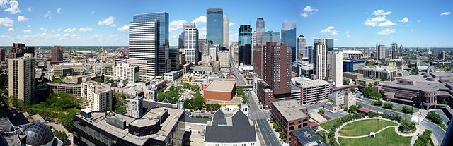 Panoramic photo of downtown Minneapolis