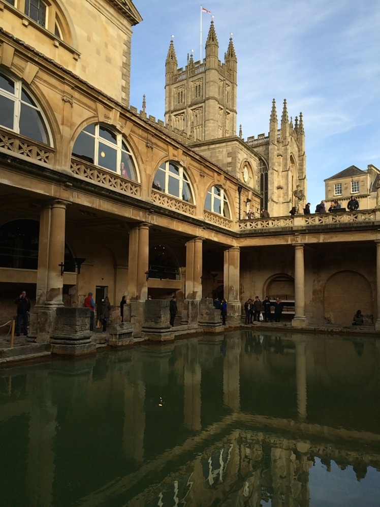 Bath: Roman baths with cathedral in background