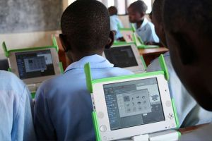 Laptops in a Rwandan primary school classroom