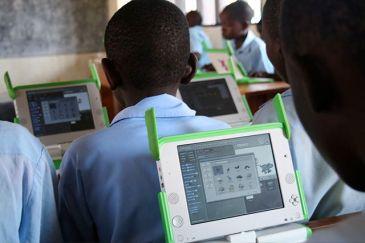 Laptops in a Rwandan primary school classroom