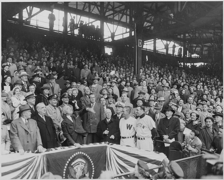 Harry Truman throws out the first pitch in 1952
