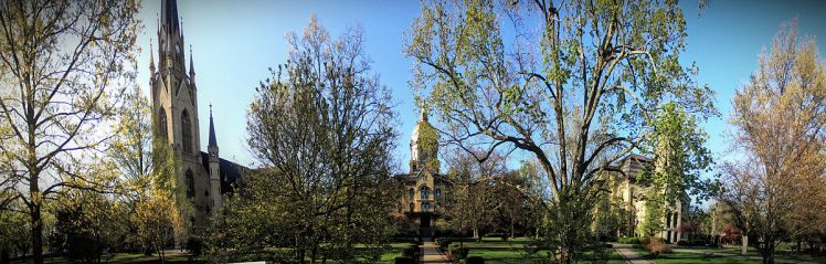 Notre Dame's basilica, Golden Dome, and Washington Hall