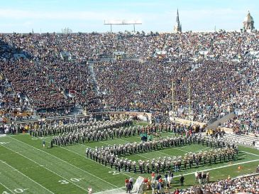 A football game at Notre Dame Stadium