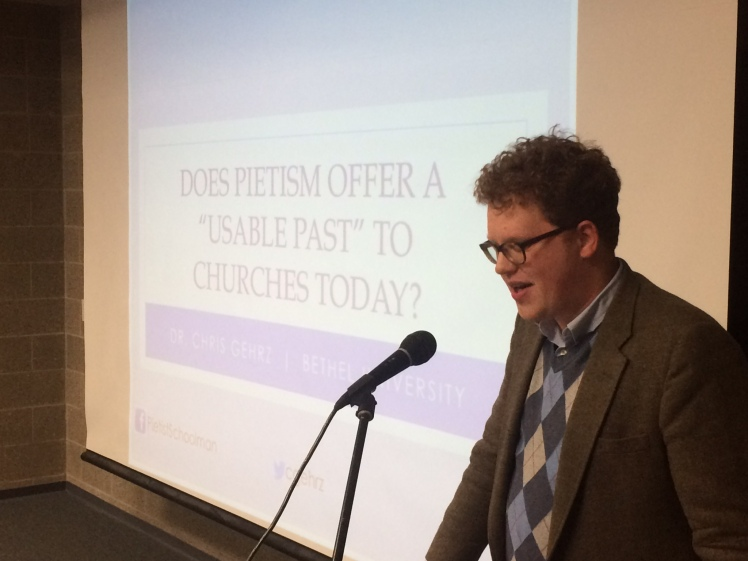 Devin Manzullo-Thomas introducing my talk on Pietism and churches