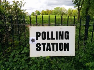 Polling station sign at Hampstead Heath, May 2015