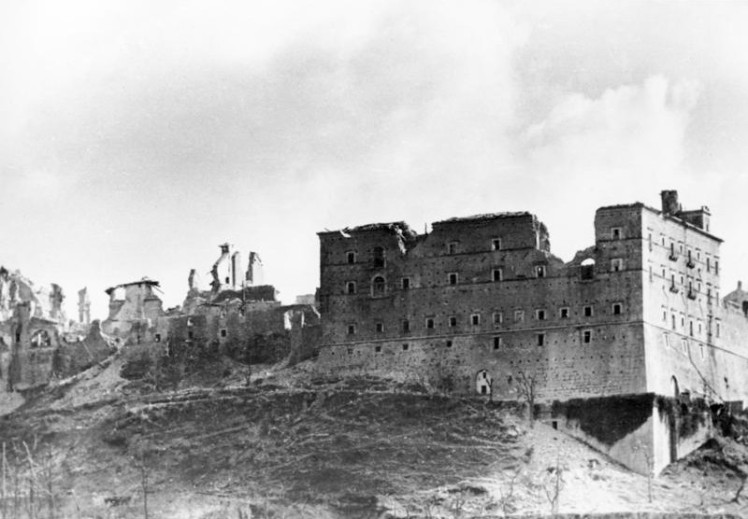 The Monte Cassino abbey after the Allied attack on Feb. 15, 1944