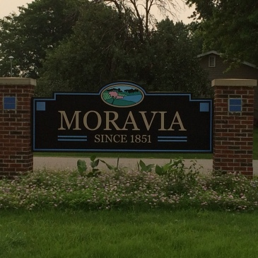 Town sign for Moravia, Iowa (est. 1851)