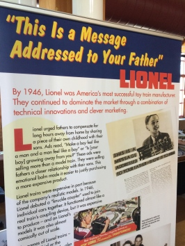 """This is a message addressed to your father"" - display on Lionel Trains after WWII"