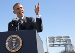 Barack Obama speaking at the Edmund Pettus Bridge on March 7, 2015