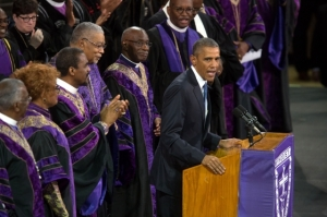 Pres. Obama preaching the eulogy at the memorial service for Rev. Clementa Pinckney