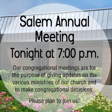 Announcement for Salem's recent annual meeting