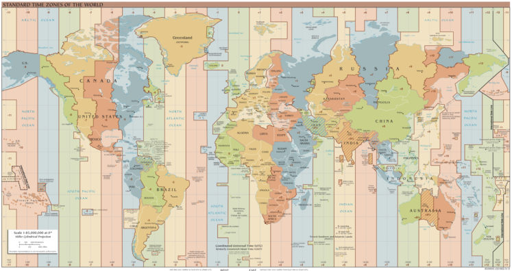 Map of the world's time zones