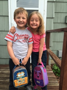 Isaiah and Lena - last day of preschool