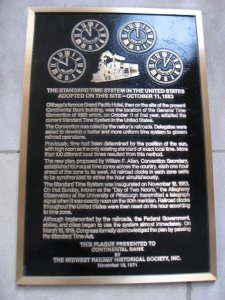 Time zone convention plaque in Chicago