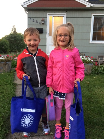 First day of kindergarten for our kids