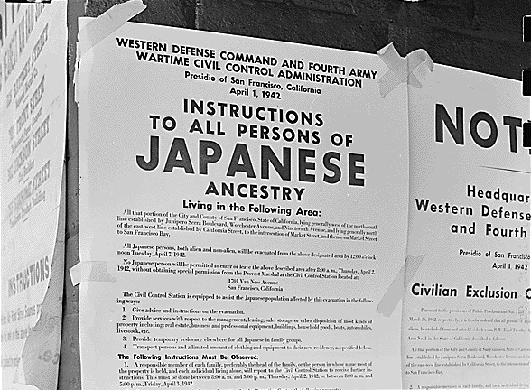 April 1942 military decree ordering relocation of Japanese-Americans in San Francisco