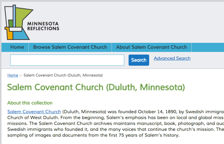 screen shot of the Salem Covenant Church page at the Minnesota Digital Library