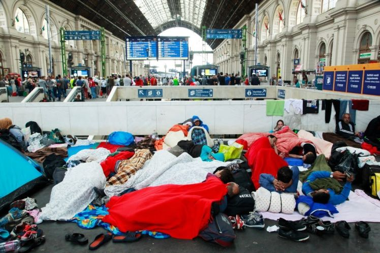 Refugees in Budapest train station, Sept. 2015