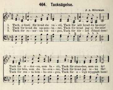 """Tack O Gud"" in the 1922 Covenant hymnal, Sions Basun"