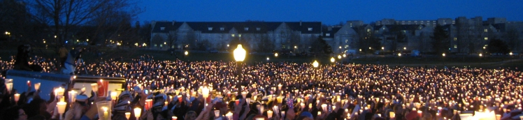 Candlelight vigil at Virginia Tech after the 2007 mass murder