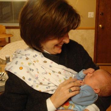 Stacey with my newborn son