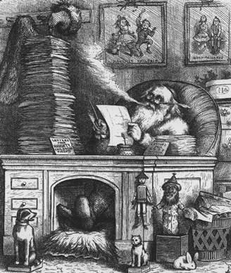 """1871 cartoon: """"Santa Claus's Mail"""""""