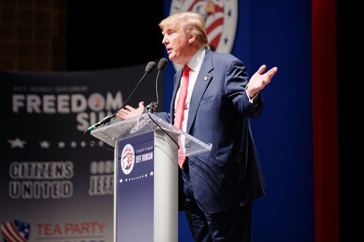 Donald Trump speaking in May 2015