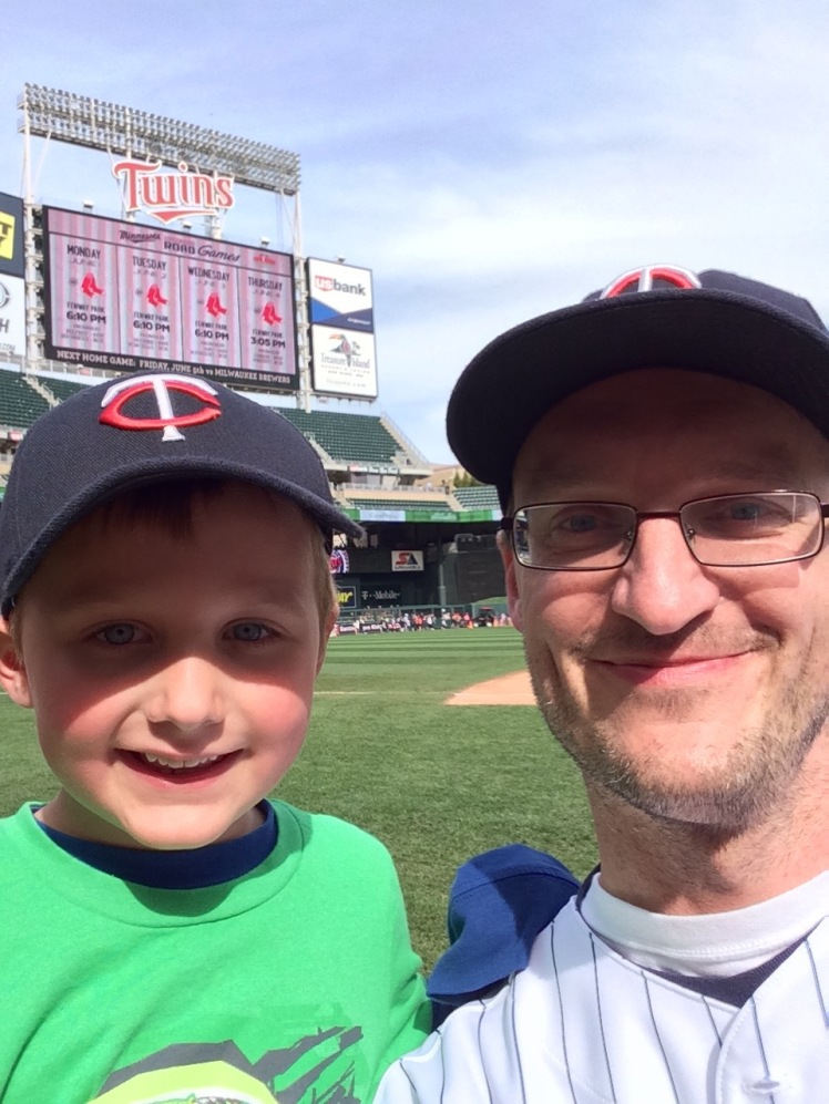 Isaiah and I on the infield at Target Field