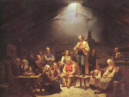A Haugean (Norwegian Pietist) conventicle studying the Bible