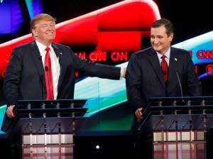 YouTube screen cap of Donald Trump and Ted Cruz at a January 2016 debate