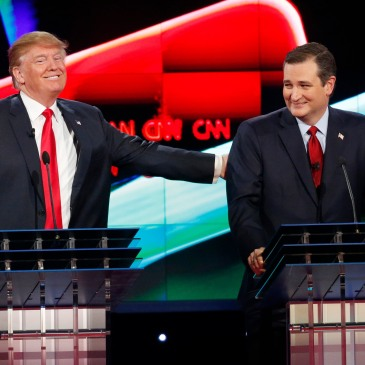 YouTube screen cap of Donald Trump and Ted Cruz at a January 2016 debate