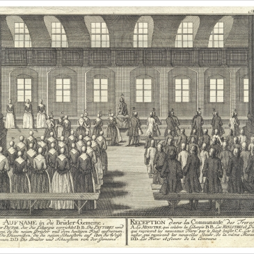 18th c. Moravian illustration of receiving new brothers