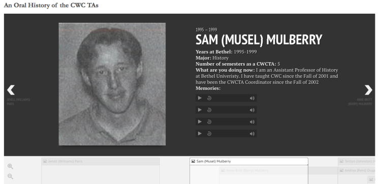 Screen shot of CWC TA Oral History timeline
