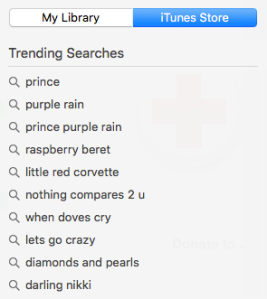 Trending searches on iTunes this morning - all are Prince or songs by him
