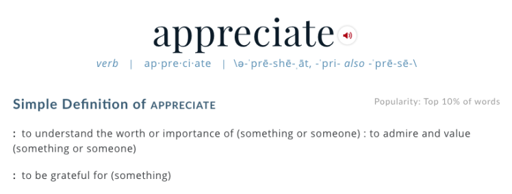 "Webster's definition of ""appreciate"""
