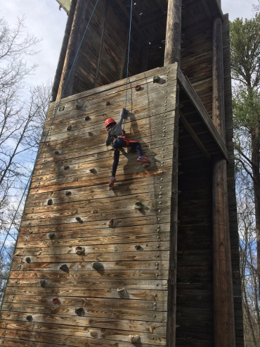 Almost to the top of the climbing wall...