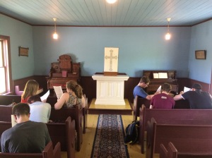 Intro to History students in Scandia Chapel
