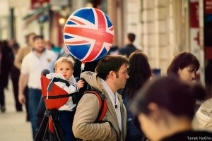Father and son with Union Jack balloon