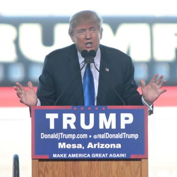 Donald Trump at a campaign rally in December 2015